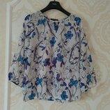 Размер 14 Очень красивая нежная фирменная шифоновая блузка блуза