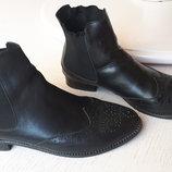 Кожаные ботинки, 40 размер, стелька 26 см, полуботинки, перфорация, женские, черные