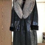 Пальто зима дубленка натуральная с чернобуркой