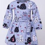 Тепленькие байковые плать в единорги, мишки, клетку, яркие расцветки, 100% хлопок