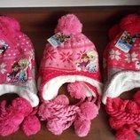 Детская шапка зима для девочки Анна и Эльза Минни Маус Скай Дисней китти