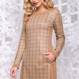 Элегантное платье замш принтованный Артикул 1062