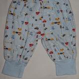 Голубые трикотажные штанишки Disney для новорожденных. На ребенка 0-3 мес, рост 56 см, весом 5 кг.
