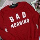 Свитшот красный толстовка bad morning