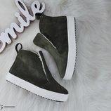 е2385 Зимние ботинки из натурального замша 36-40 р хаки