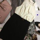 Платье классическое комбинированное new look 10 размер