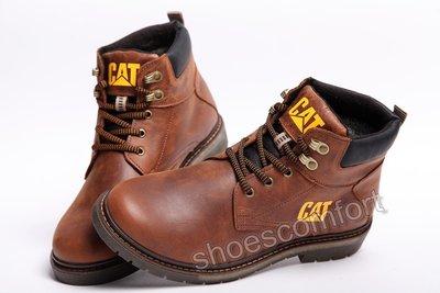 57f110e05 Кожаные зимние ботинки CATerpillar CAT коричнево - рыжие модель B - 17