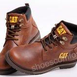 Кожаные зимние ботинки CATerpillar CAT коричнево - рыжие модель B - 17