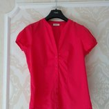 Размер 12 Яркая фирменная тоненькая хлопковая рубашка блузка