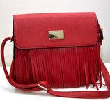 Женская модная стильная сумка красная бахрома 4037-1