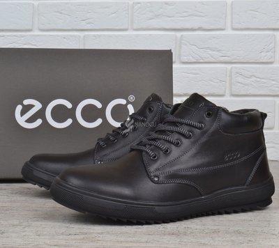 Ботинки мужские кожаные зимние Ecco черные натуральный мех