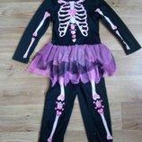 костюм скелета на девочку 8-11 лет прокат