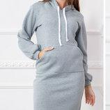 Теплое платье турецкая трехнитка размеры 42-48 скл.1 арт.46660