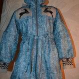 новая демисезонная курточка пальто девочке на 8-9 лет рост 128-134