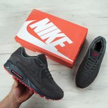 Зимние мужские кроссовки Nike Air Max 90VT FUR. Серые с красным. Замша натуральная