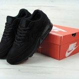 Зимние мужские кроссовки Nike Air Max 90VT FUR. Черные. Замша натуральная