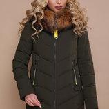 Теплая зимняя Куртка пуховик с натуральным мехом наполнитель био-пух 18-183. размеры с-2хл скл.2