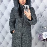 Теплая зимняя куртка пуховик ткань букле на синтепоне скл.1 арт.46727