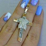 Чоловічий срібний хрeстик, мужской серебряный крест, золотой крест с серебром, мужское серебро