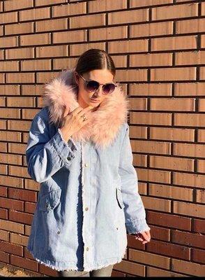 42a21f75 Теплая длинная джинсовая куртка с мехом внутри -производство Китай 02307  Размеры 42-44,