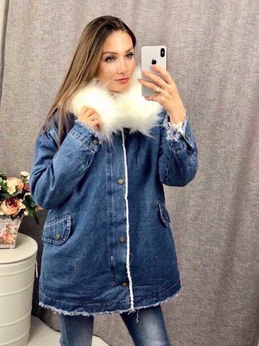 5c773662 Теплая длинная джинсовая куртка с мехом внутри -производство Китай 02307  Размеры 42-44,44-46: 1420 грн - женская зимняя верхняя одежда в Одессе, ...