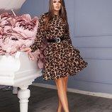 Платье Ткань-Креп-Шифон Не прозрачный Цвет-Тигровый принт Цвета в наличии-тигровый принт Талия