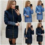 Красивое женское пальто Korsika кашемир со вставками плащевка / утепленное на синтепоне р-ры 42-48