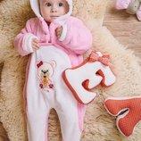 Теплый махровый комбинезон для малышей