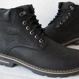 Супер Мужские зимние ботинки в стиле Wrangler натуральная кожа обувь сапоги Вранглер стиль в черном