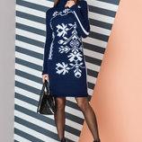 Теплое вязаное платье с орнаментом «Ульяна»
