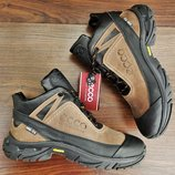Мужские зимние кроссовки ботинки Ecco Biom . Натуральный мех и кожа. Топ качество Ааа.