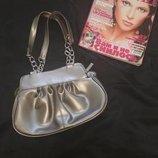 Стильная серебрянная сумочка-клатч