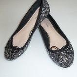next Нарядные туфли балетки со стразиками Некст , р 36, стелька 23 см, в идеале