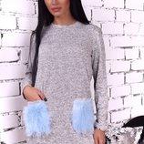 Платье теплое из ангоры с меховыми карманами скл.1 арт. 46766