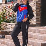 Стильный женский спортивный костюм двухнить в больших размерах Трёхцвет Лампасы Надписи