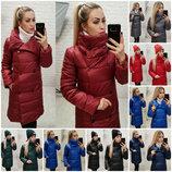 Пальто Zima удлиненная куртка зимняя на силиконе / стеганное / высокий воротник р-ры 42-48