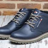 Мужские кожаные тёплые ботинки синие