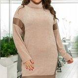 Теплое вязаное вилюровое платье вставки из экокожи хл размеры 48-54 скл.1 арт.46824