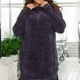 Теплое вязаное вилюровое платье вставки из экокожи хл размеры 48-54 скл.1 арт.46823
