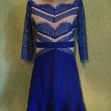 Платье с кружевом и воланом christal 10 размер
