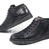 Спортивные мужские кожаные зимние ботинки AndanteBlack