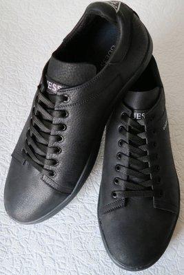 d3b9eb5c Guess Мужские туфли кеды из натуральной кожи черного цвета сезон осень 2018  реплика Гесс