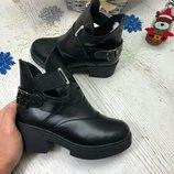 Кожаные и замшевые зимние ботинки с толстой подошвой