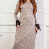 Длинное теплое платье из ангоры с кружевным манжетом скл.1 арт.46842