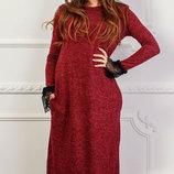 Длинное теплое платье из ангоры с кружевным манжетом скл.1 арт.46840