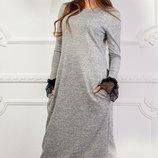 Длинное теплое платье из ангоры с кружевным манжетом скл.1 арт.46839