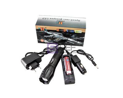 Самый Яркий Аккумуляторный фонарик 5 режимов/LED Cree T6/сигнал SOS