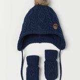 комплект зима шерсть на флисе h&m рост 86-92 на 1-2 года синий