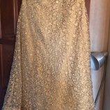 Нарядная золотистая макси юбка, р-р 40