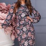 Мягкое демисезонное Платье миди из ангоры-софт скл.1 арт.46798